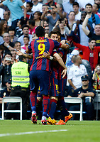 """Spanish  League""- match Real Madrid Vs FC Barcelona- season 2014-15 - Santiago Bernabeu Stadium -Neymar,Lionel Messi and Luis Suarez (FC Barcelona) Celebrates a goal during the Spanish League match against Real Madrid(Photo: Guillermo Martinez / Bohza Press / Alter Photos)"