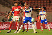 Calvin Andrew holds the ball up during the second round of the Carabao EFL Cup match between Middlesbrough and Rochdale at the Riverside Stadium, Middlesbrough, England on 28 August 2018.