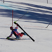 Winter Olympics, Vancouver, 2010.Didier Defago, Switzerland, crashes out of the Alpine Skiing Men's Super Combined event at Whistler Creekside, Whistler, during the Vancouver Winter Olympics. 21th February 2010. Photo Tim Clayton
