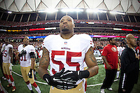 20 January 2013: Linebacker (55) Ahmad Brooks of the San Francisco 49ers stands during the National Anthem before the 49ers 28-24 victory over the Atlanta Falcons in the NFC Championship Game at the Georgia Dome in Atlanta, GA., GA.