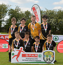 Scoil Ursula Co Sligo finalists in the SPAR FAI Primary Schools 5's Connacht finals, pictured at Solar Park Mayo with their medals. <br /> Pic Conor McKeown