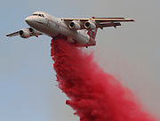 June 20, 2016 - Duarte, California, U.S. -A tanker drops fire retardant as a wildfire burns along Highway 94 near Potrero on Monday.<br /> ©Exclusivepix Media