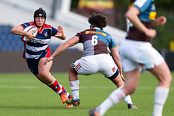 Clara Nielson of Bristol Ladies is challenged by Shaunagh Brown of Aylesford Bulls - Rogan Thomson/JMP - 23/04/2017 - RUGBY UNION - Sixways Stadium - Worcester, England - Bristol Ladies Rugby v Aylesford Bulls - Women's Premiership Final.