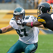 October 07, 2012:  Philadelphia Eagles tight end Brent Celek (87) gets face masked by Pittsburgh Steelers cornerback Keenan Lewis (23) during the game between The Philadelphia Eagles and The Pittsburgh Steelers at Heinz Field in Pittsburgh, PA.  The Pittsburgh Steelers defeat the Philadelphia Eagles 16-14. (Credit Image: © Kostas Lymperopoulos/Cal Sport Media)