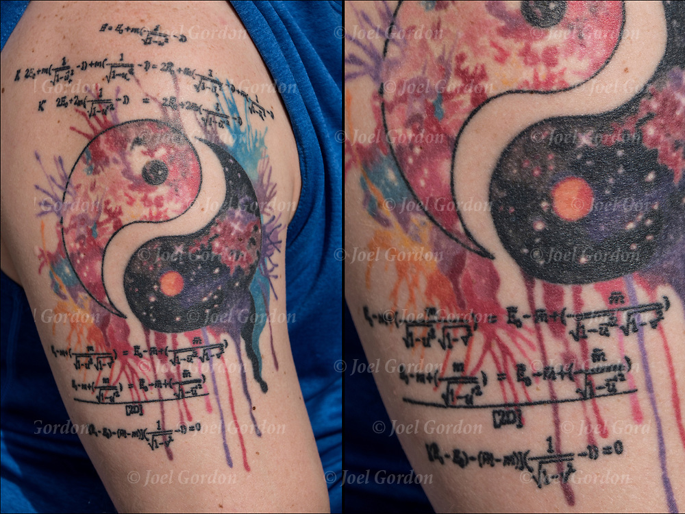 Watercolor tattoo of Theory of Relativity and Yin and Yang on his shoulder and arm.<br />