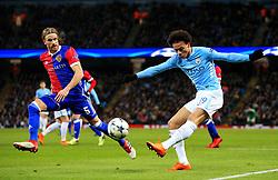 Leroy Sane of Manchester City crosses under pressure from Michael Lang of Basel - Mandatory by-line: Matt McNulty/JMP - 07/03/2018 - FOOTBALL - Etihad Stadium - Manchester, England - Manchester City v Basel - UEFA Champions League, Round of 16, second leg