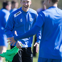 St Johnstone Training..18.04.14<br /> Steven Anderson all smiles in training this morning ahead of tomorrow's game against Dundee United.<br /> Picture by Graeme Hart.<br /> Copyright Perthshire Picture Agency<br /> Tel: 01738 623350  Mobile: 07990 594431