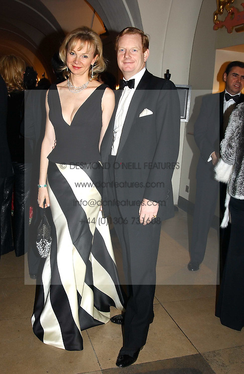 The EARL &amp; COUNTESS OF DERBY at a private dinner to unveil the Van Cleef &amp; Arpels jewellery collection 'Couture' with fashion by Anouska Hempel Couture held at The Banqueting House, Whitehall Palace, London on 8th March 2005.<br />