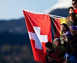 08.02.2011, Kandahar, Garmisch Partenkirchen, GER, FIS Alpin Ski WM 2011, GAP, Lady Super G, im Bild eine Schweizer Flagge mit Zuschauer // a Swiss flag with spectatorduring Women Super G, Fis Alpine Ski World Championships in Garmisch Partenkirchen, Germany on 8/2/2011, 2011, EXPA Pictures © 2011, PhotoCredit: EXPA/ J. Feichter