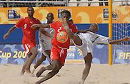Football-FIFA Beach Soccer World Cup 2006 - Group D-BHR_NGA - Okemmiri-NGA tries a overhead kick but was stoped by Omar-BHR. - Rio de Janeiro - Brazil 06/11/2006<br />Mandatory credit: FIFA/ Marco Antonio Rezende.