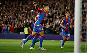 Dwight Gayle celebrates his goal during the Capital One Cup match between Crystal Palace and Charlton Athletic at Selhurst Park, London, England on 23 September 2015. Photo by Michael Hulf.