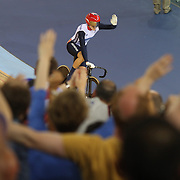 Victoria Pendleton, Great Britain, winning the Women's Keirin Gold Medal during the track cycling at the Olympic Velodrome during the London 2012 Olympic games London, UK. 3rd August 2012. Photo Tim Clayton