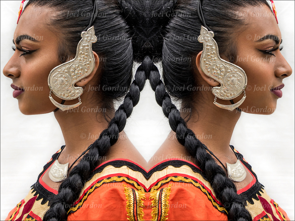 Photographic series of digital computer art from an image of Sri Lankan Dancer profile back to back.<br />