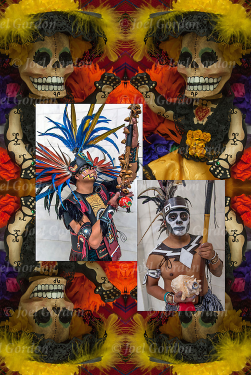 Day of the Dead (Spanish: D&iacute;a de Muertos)background image. Two Aztec Dancers in center.<br />
