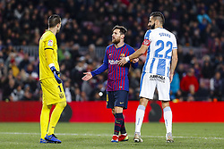 January 20, 2019 - Barcelona, Spain - Ivan Cuellar (1) of CD Leganes, Lionel Messi (10) of FC Barcelona and Dimitris Siovas (22) of CD Leganes during the match FC Barcelona against CD Leganes, for the round 20 of the Liga Santander, played at Camp Nou  on 20th January 2019 in Barcelona, Spain. (Credit: Mikel Trigueros/Urbanandsport / NurPhoto) (Credit Image: © Mikel Trigueros/NurPhoto via ZUMA Press)