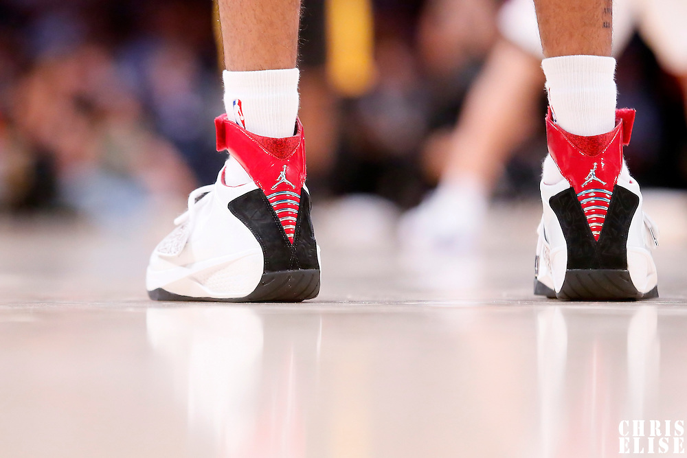 31 October 2014: Close view of Los Angeles Clippers guard Chris Douglas-Roberts (14) shoes during the Los Angeles Clippers 118-111 victory over the Los Angeles Lakers, at the Staples Center, Los Angeles, California, USA.