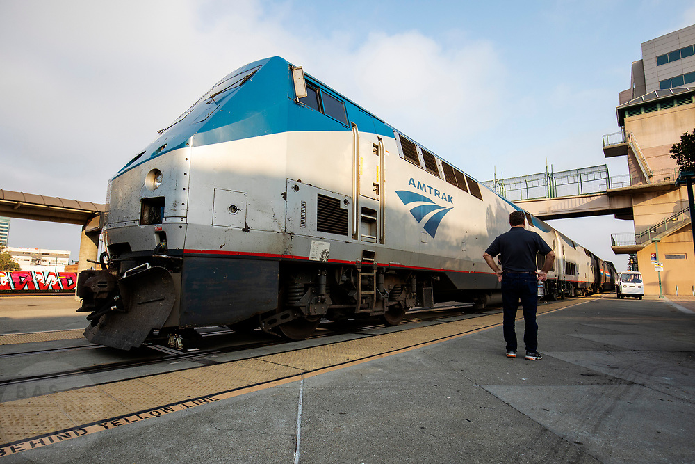 United States, Emeryville, 02-09-2018<br /> De trein van Amtrak bij het station Emeryville, CA.<br /> <br /> The Amtrak train near Emeryville, CA station.<br /> Foto: Bas de Meijer / De Beeldunie