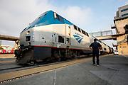 United States, Emeryville, 02-09-2018<br /> De trein van Amtrak bij het station Emeryville, CA.<br /> <br /> The Amtrak train near Emeryville, CA station.<br /> Foto: Bas de Meijer / De Beeldunie