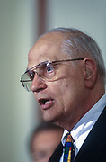 WASHINGTON, DC, USA - 1997/04/09: U.S. Rep. John Dingell during news conference discussing the Congressional delegations trip to Asia on Capitol Hill April 9, 1997 in Washington, DC.  (Photo by Richard Ellis)