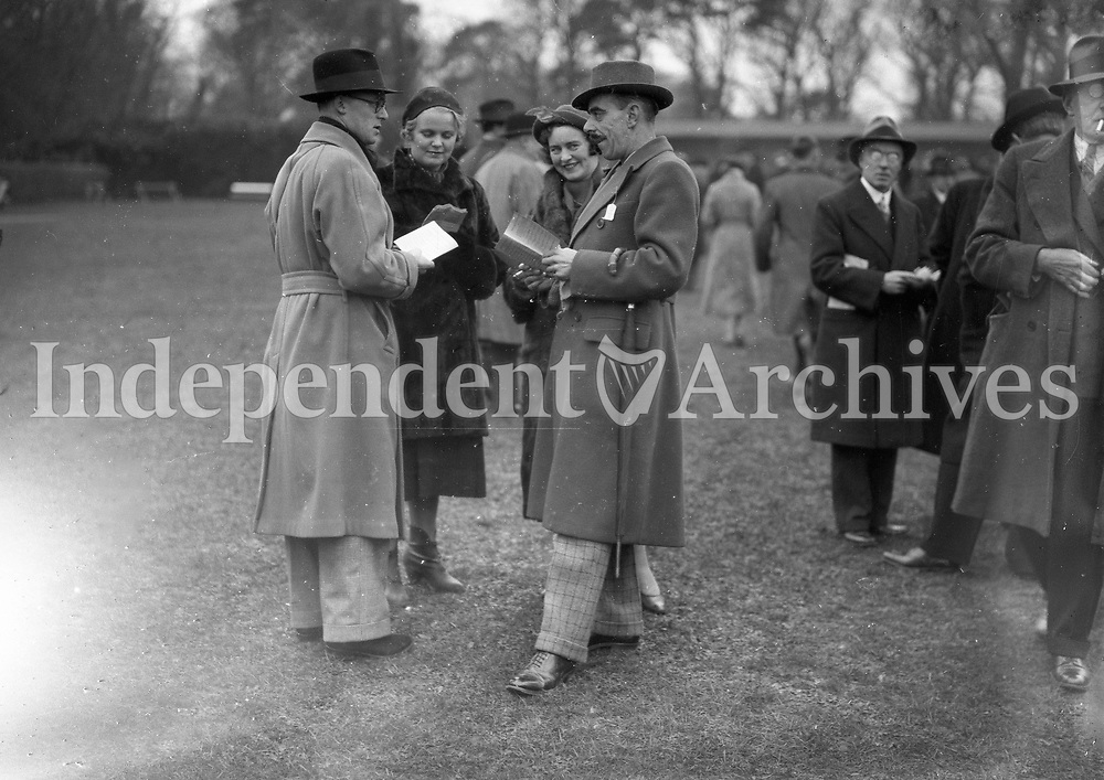 Mr.and Mrs. Myerscough and Major and Mrs. J.W. Johnson at the Leopardstown races, December 28 1936. <br />