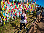 PAJU, GYEONGGI, SOUTH KOREA: A South Korean girl runs past prayer flags hanging on a fence near the northernmost point on the South Korean side of the Korean DMZ in Imjingak. Imjingak is a park and greenspace in South Korea that is farthest north most people can go without military authorization. The park is on the south bank of Imjin River, which separates South Korea from North Korea and is on the edge of the DMZ. Tourism to the Korean DeMilitarized Zone (DMZ) has increased as the pace of talks between South Korea, North Korea and the United States has increased. Some tours are sold out days in advance.      PHOTO BY JACK KURTZ