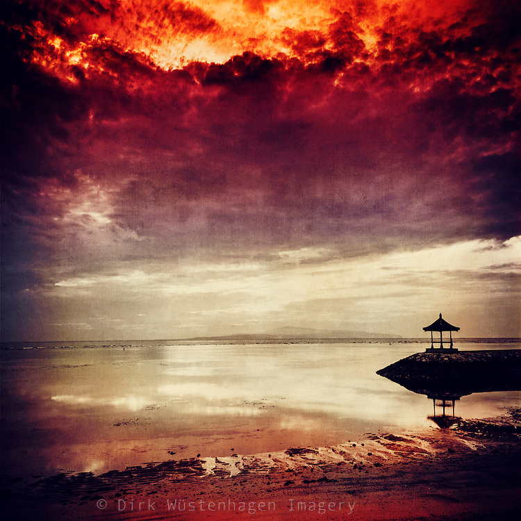 Dramatic sunrise at Sanur Beach - texturized photograph<br />