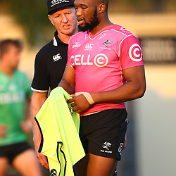 Dick Muir as an attack and backline consultant of the Cell C Sharks with Lukhanyo Am of the Cell C Sharks during the Cell C Sharks training, Jonsson Kings Park Stadium,Durban South Africa.27,06,2018 Photo by (Steve Haag REX Shutterstock )