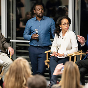 April 17, 2018 - New York, NY : The New York Times hosted Bill Nye for a conversation about climate change with New York Times science writer James Gorman and NYC Rising producer Geraldine Moriba at the Times building on Tuesday evening. Here, from left, Gorman, BlocPower CEO and co-founder Donnel Baird, Moriba, and Nye during the event.  CREDIT: Karsten Moran for The New York Times