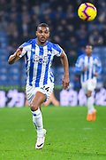Steve Mounie of Huddersfield Town (24) in action during the Premier League match between Huddersfield Town and Wolverhampton Wanderers at the John Smiths Stadium, Huddersfield, England on 26 February 2019.