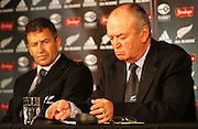 All Blacks back coach Wayne Smith and head coach Graham Henry.<br /> All Blacks end-of-year tour team announcement, NZRU HQ, Wellington. Sunday, 26 October 2008. Photo: Dave Lintott/PHOTOSPORT
