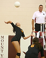 Solon's Jordan Runge (16) goes up for a kill during the WaMaC Tournament semifinal game at Mount Vernon High School in Mount Vernon on Thursday October 11, 2012. Solon defeated Mount Vernon 26-24, 25-22.