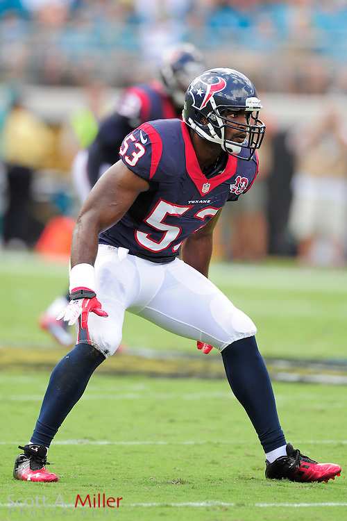Houston Texans inside linebacker Bradie James (53) during the NFL game between the Texans and the Jacksonville Jaguars, at EverBank Field on September 16, 2012 in Jacksonville, Florida. The Texans won 27-7...©2012 Scott A. Miller.