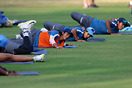 Indian players warm up before the start of the second women's one day International ( ODI ) match between India and Australia held at the Reliance Cricket Stadium in Vadodara, India on the 15th March 2018<br /> <br /> Photo by Vipin Pawar / BCCI / SPORTZPICS
