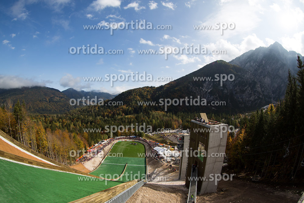 View on the Planica during Slovenian summer national championship and opening of the reconstructed Bloudek's hill in Planica on October 14, 2012 in Planica, Ratece, Slovenia. (Photo by Matic Klansek Velej / Sportida)