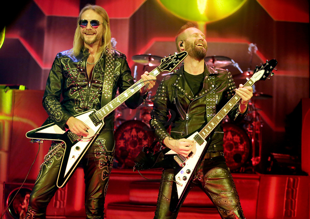 Richie Faulkner, left, and Andy Sneap of Judas Priest performs on Tuesday, April 24, 2018, in Phoenix, Arizona. (AP Images/Rick Scuteri)