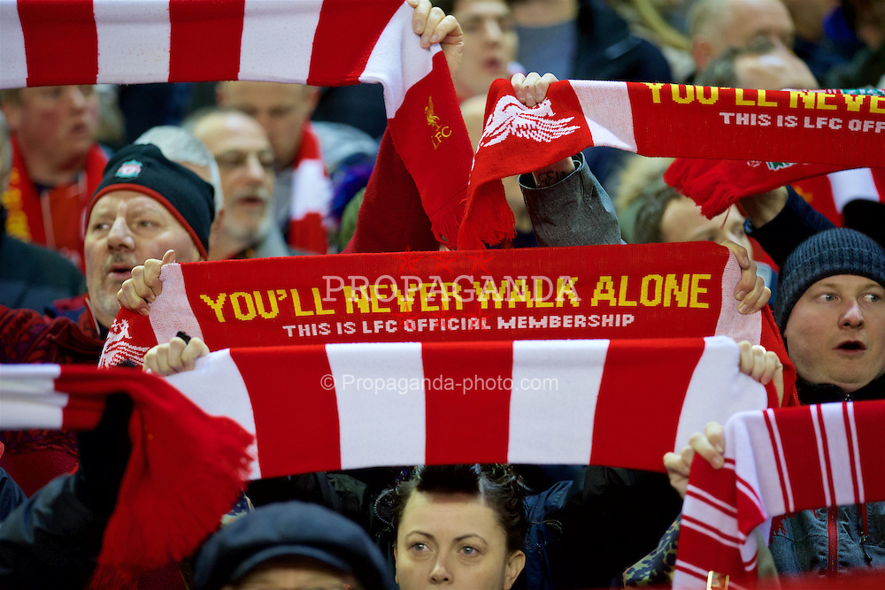 "LIVERPOOL, ENGLAND - Thursday, March 10, 2016: Liverpool supporters sing ""You'll Never Walk Alone"" before the UEFA Europa League Round of 16 1st Leg match against Manchester United at Anfield. (Pic by David Rawcliffe/Propaganda)"