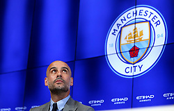 New Manchester City Manager Pep Guardiola speaks to the media during his first press conference - Mandatory by-line: Robbie Stephenson/JMP - 08/07/2016 - FOOTBALL - Manchester City Training Campus - Manchester, England - Pep Guardiola's debut press conference as manager of Manchester City