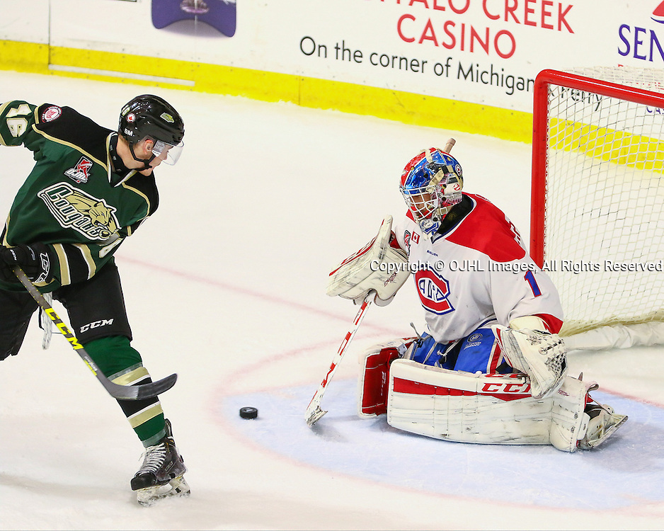 BUFFALO, NY - SEP 26,  2016: Ontario Junior Hockey League game between Toronto and Cobourg, Andrew Cipollone #1 of the Toronto Jr. Canadiens makes the save during the first period<br /> (Photo by Hark Nijjar/ OJHL Images)