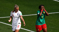 File photo dated 23-06-2019 of England's Toni Duggan (left) reacts after she is spat on by by Cameroon's Augustine Ejangue (right) during the FIFA Women's World Cup, round of Sixteen match at Stade du Hainaut, Valenciennes.