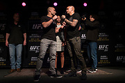 DALLAS, TX - MAY 10:  Eddie Alvarez faces off with Dustin Poirier during the UFC 211 Ultimate Media Day at the House of Blues Dallas on May 10, 2017 in Dallas, Texas. (Photo by Cooper Neill/Zuffa LLC/Zuffa LLC via Getty Images)