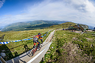 Matthew Walker flies down the starting ramp at the top of the Fort William downhill track during Saturday practise at the UCI Mountain Bike World Cup.