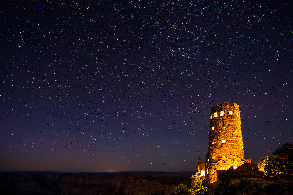 The night sky above the Watchtower at Desert View. Grand Canyon National Park in Arizona.