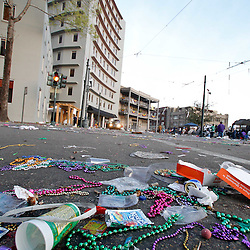 February 21, 2012; New Orleans, LA, USA; Trash litters the street on Lee Circle following parades that rolled through the city of New Orleans on Mardi Gras day. Mardi Gras is an annual celebration that ends at midnight with the start of the Catholic Lenten season which begins with Ash Wednesday and ends with Easter. Photo by: Derick E. Hingle