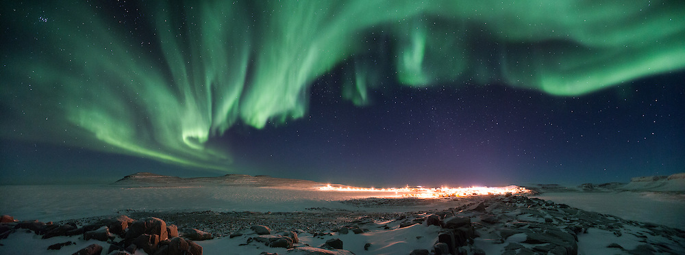 The aurora drift over the tiny hamlet of Ulukhaktok, NT in Canada's high arctic
