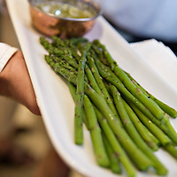 Fresh, young asparagus on a plate.