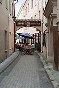 Cafe/restaurant in an alleyway, Old Town/Senamiestas, Vilnius, Lithuania