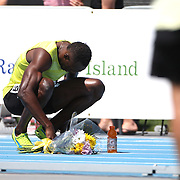 Usain Bolt, Jamaica, after his win in the Men's 200m during the Diamond League Adidas Grand Prix at Icahn Stadium, Randall's Island, Manhattan, New York, USA. 13th June 2015. Photo Tim Clayton