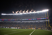 Fireworks go off high above Heinz Field in this general view photograph taken after the playing of the National Anthem at the Pittsburgh Steelers NFL week 10 regular season football game against the Carolina Panthers on Thursday, Nov. 8, 2018 in Pittsburgh. The Steelers won the game 52-21. (©Paul Anthony Spinelli)