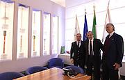 ROMA 20 GENNAIO 2016<br /> PRESENTAZIONE NUOVO CT DELLA NAZIONALE ITALIANA DI BASKET ETTORE MESSINA NELLA FOTO GIANNI PETRUCCI E GIOVANNI MALAGO' NELLA SALA DELLE FIACCOLE<br /> Foto Ciamillo