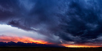 The sun sets over the Sangre de Cristo mountain range near Westcliffe, Colorado on a late summer evening